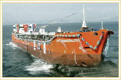 Спуск на воду танкера Капитан Нагдалиев
